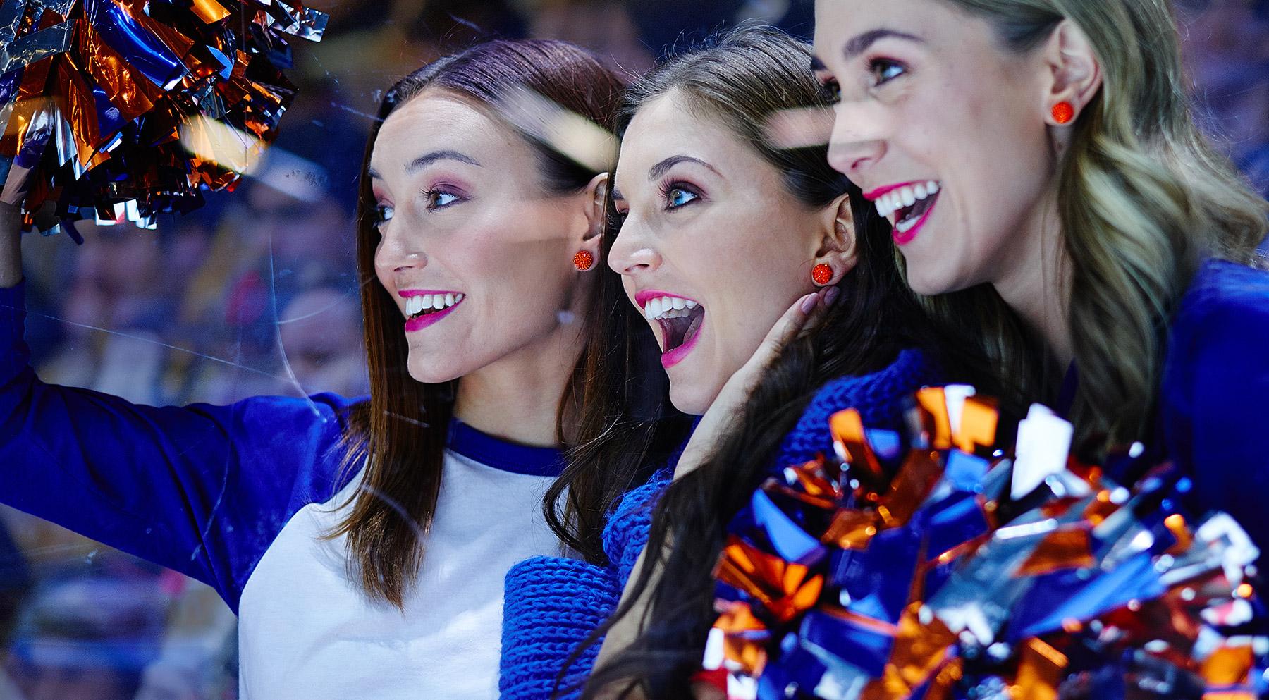 Edmonton Oilers Cheerleaders wearing H&B Orange Sparkle Ball Earrings