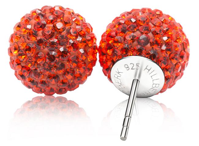 Orange Sparkle Ball Earrings